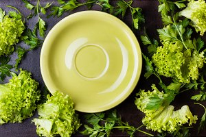 Fresh herbs lettuce around green plate on black background