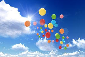 balloons are flying to the sky