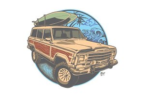 Wooden jeep go surf