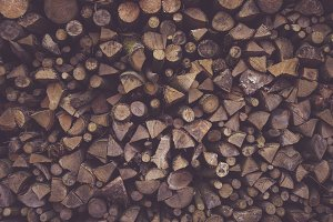Stacked Chopped Wood Pile