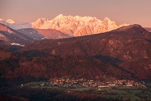 Village under mountain at sunrise