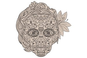 Female Sugar Skull Calavera Retro