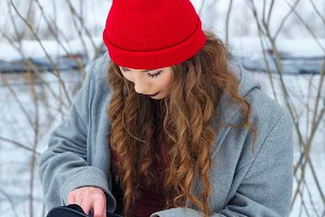 Hipster Girl winter.