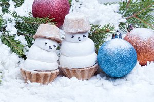 two small snowman