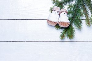 two little funny snowman