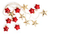 Golden stars and red baubles