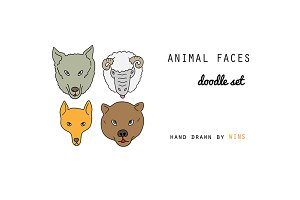 Zoo Animal Faces. Doodle Set