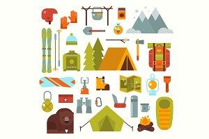 Winter camping vector flat set
