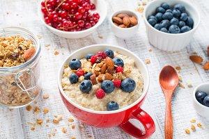 Healthy breakfast with porridge oats