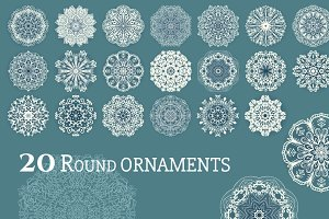 Set of 20 round lace decor ornaments