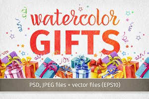 Watercolor gifts collection.