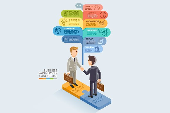 Businessman Handshake on Jigsaw. in Illustrations