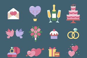 Wedding icon vector set isolated