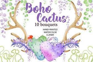 Watercolor Boho Cactus ClipArt