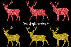 Set of vector glitter deers
