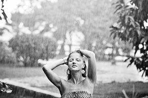 the rain and enjoying it