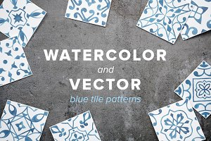 Watercolor/Vector Blue Tile Patterns