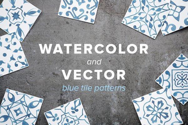 Watercolor/Vector Blue Tile Pattern…