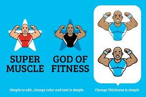 Fitness Star Character Logo Mascot