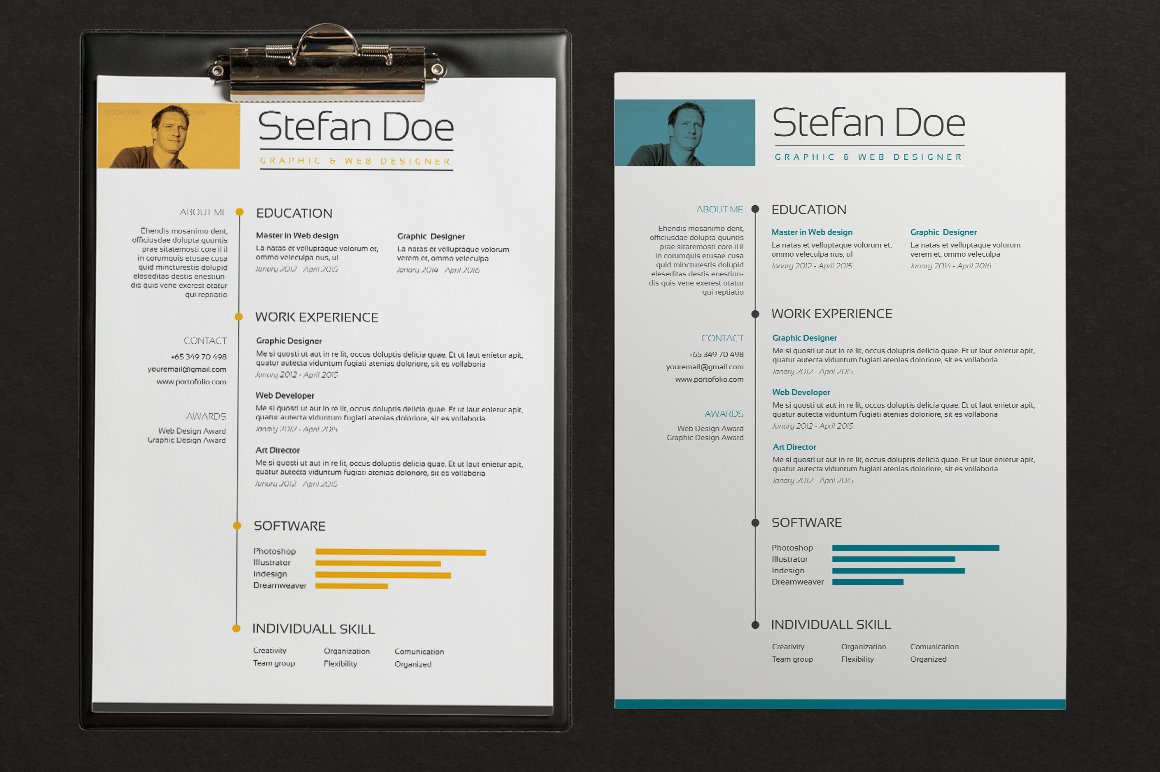 5 color Resume & Cover ~ Resume Templates ~ Creative Market