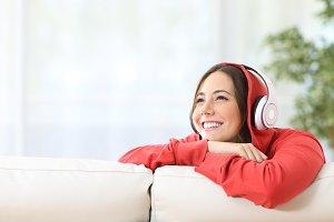 Dreamer teen girl listening music