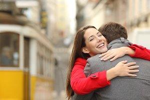 Encounter of a happy couple