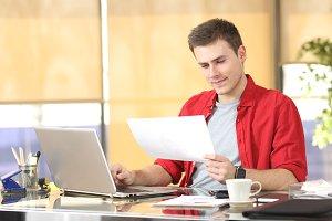 Entrepreneur working using a laptop