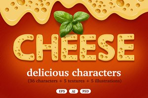 Cheese delicious characters set