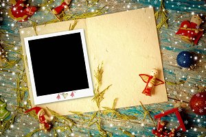 Christmas phot frame greeting card.