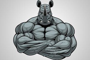 Strong rhinoceros athlete