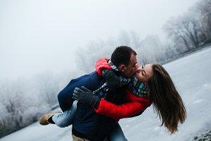 Young beautiful couple having fun