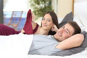 Flirtatious man on the bed