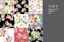 9 watercolor seamless patterns