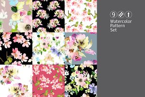 9 watercolor seamless patterns