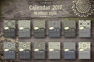 Calendar 2017 in ethnic style.