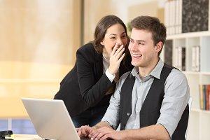 Gossip businesswoman telling secrets