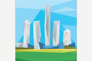 Polygonal Cityscape Illustration