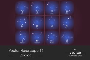Vector horoscope set of 12, Zodiac