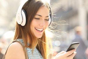 happy girl listening music