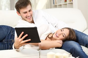 couple watching media content