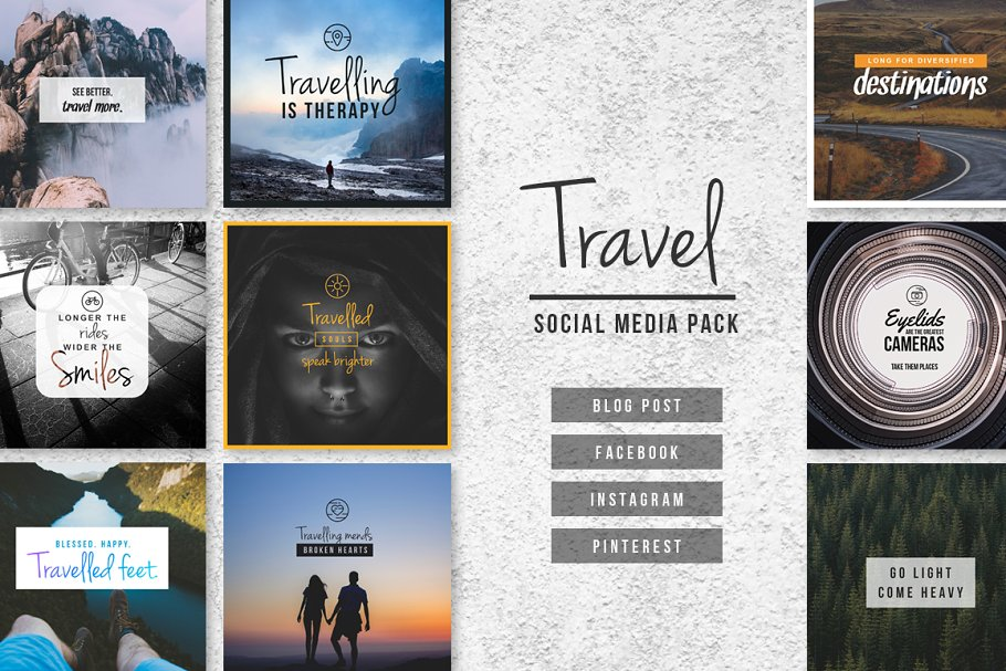 e6836f9cddcd TRAVEL - Social Media Pack ~ Social Media Templates ~ Creative Market