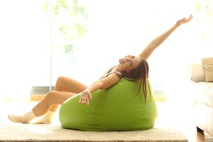 Happy girl stretching