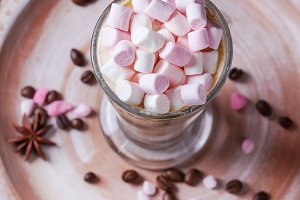 Cafe latte with pink marshmallow