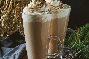 Cafe latte  with whipped cream