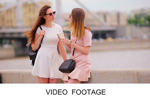 Tourist girls enjoy Europe vacation