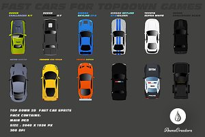 Top Down 2D  Fast Car Sprits