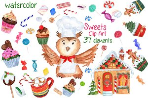 Watercolor Christmas Sweets clipart