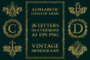 Vintage alphabetic coats of arms
