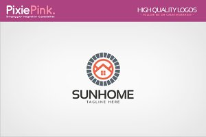 Sun Home Logo Template