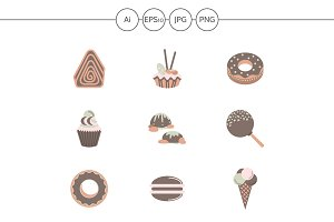 Sweets flat color vector icons set